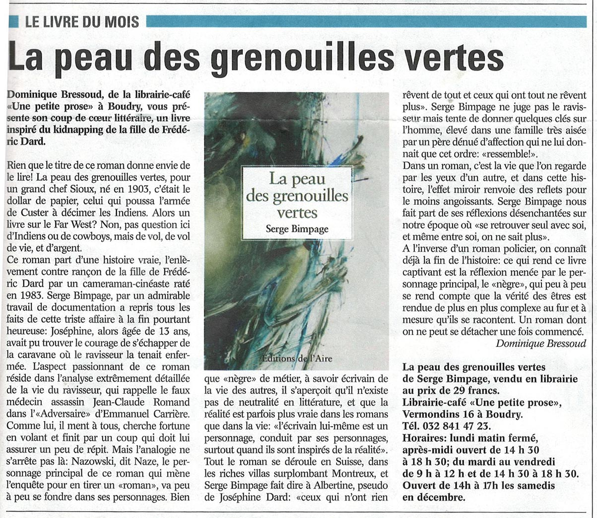 article du littoral region 20 novembre 2015 par Dominique Bressoud